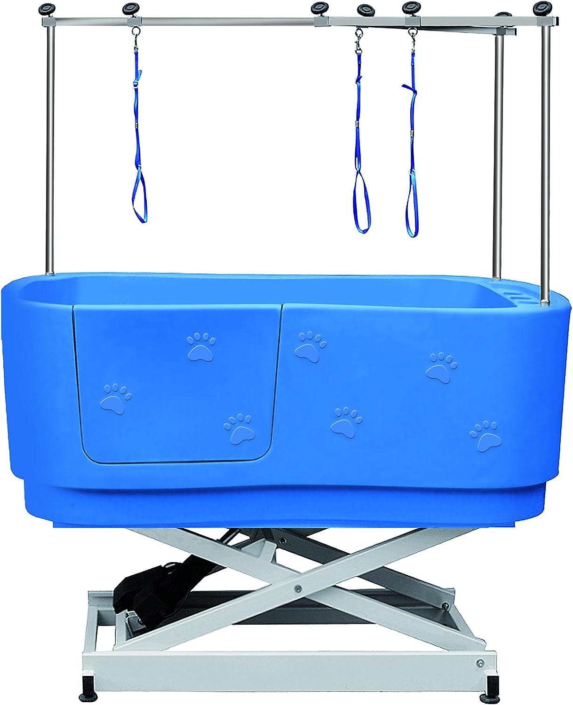bañera eléctrica de peluquería canina con puerta, marca artero, color azul y 3 lazos