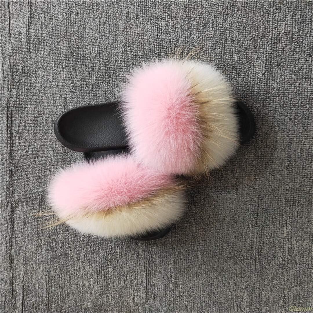 YUENBFVDW レディース ふわふわスリッパ かわいいフラシ天 フォックスヘアふわスリッパ レディースファースリッパ fox hair ピンク1