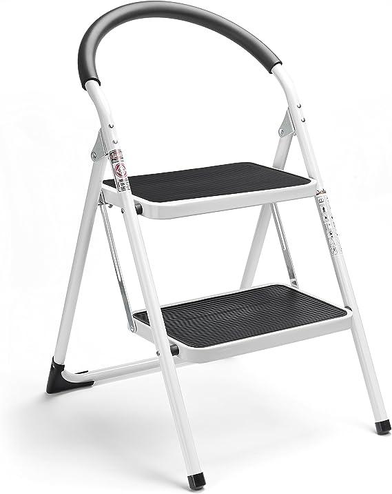Mini Step 2 3 Step Steel Ladder Portable Folding Anti-Slip Mat Safety Handrail