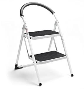Delxo 2 Step Stool Folding Step Stool Steel Stepladders with Handgrip Anti-Slip Sturdy and Wide Pedal Steel Ladder 330lbs White and Black Combo 2-Feet (WK2061A-2) (2 Step Stool)