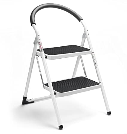Awe Inspiring Delxo 2 Step Stool Folding Step Stool Steel Stepladders With Handgrip Anti Slip Sturdy And Wide Pedal Steel Ladder 330Lbs White And Black Combo 2 Feet Lamtechconsult Wood Chair Design Ideas Lamtechconsultcom