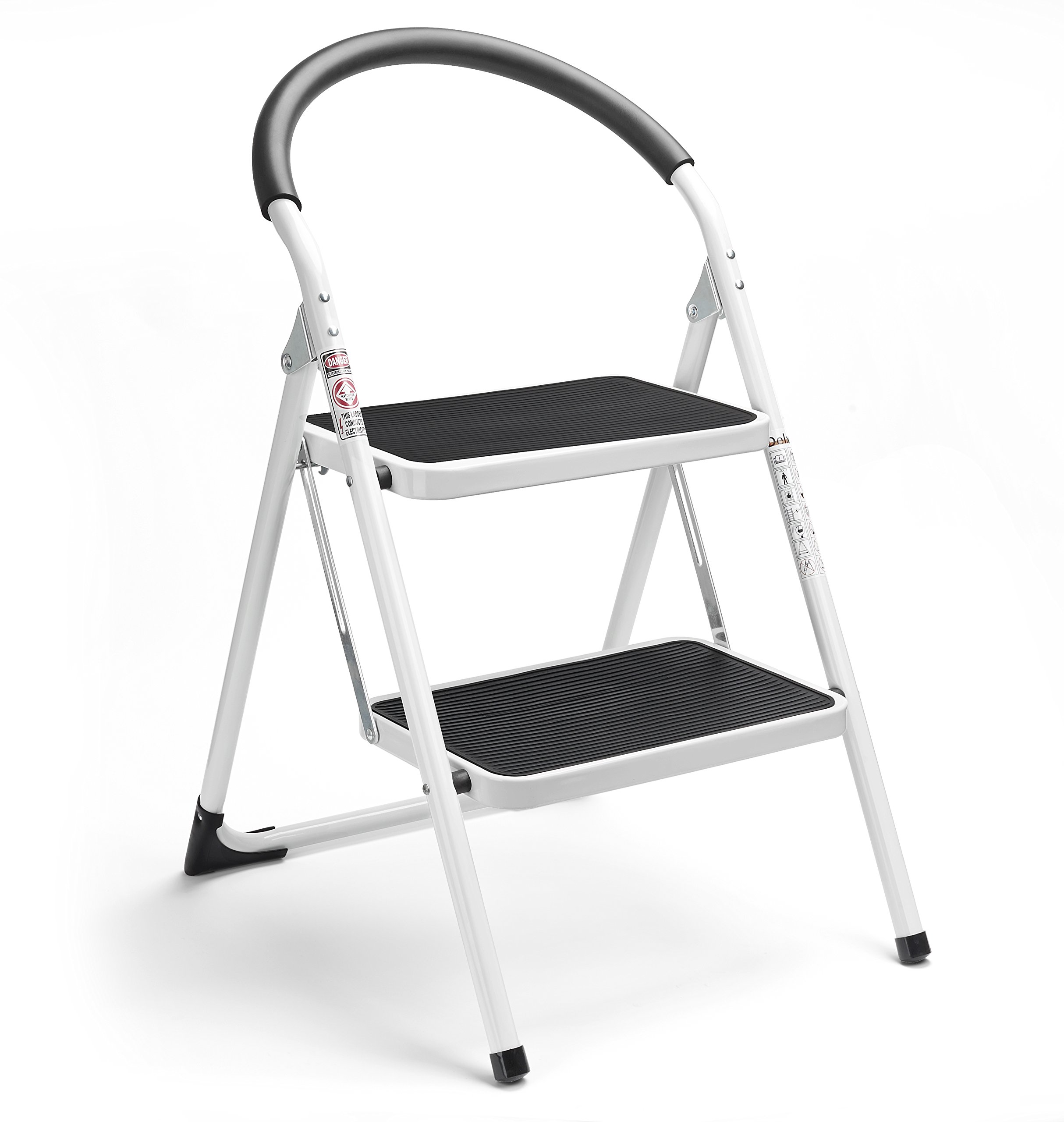 Delxo 2 Step Ladder Folding Step Stool Steel Stepladders