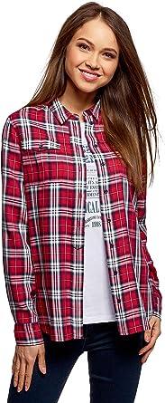 oodji Ultra Mujer Camisa de Viscosa a Cuadros