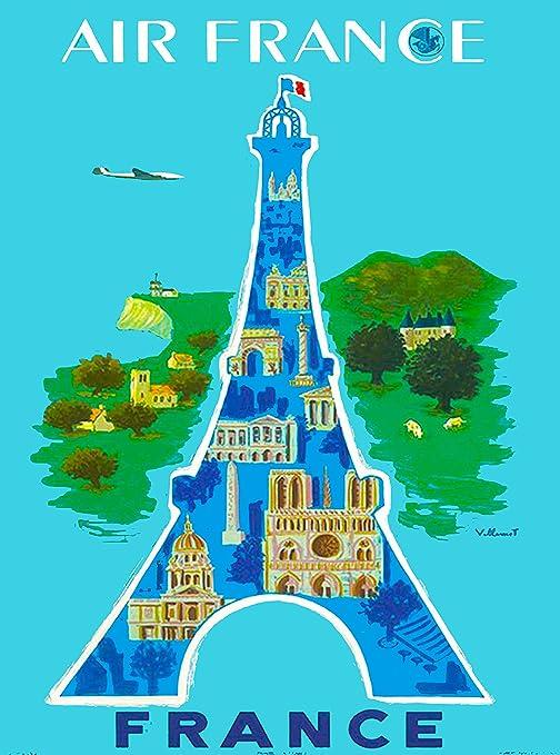 Paris France Eiffel Tower Vintage Airline Travel Art Poster Print