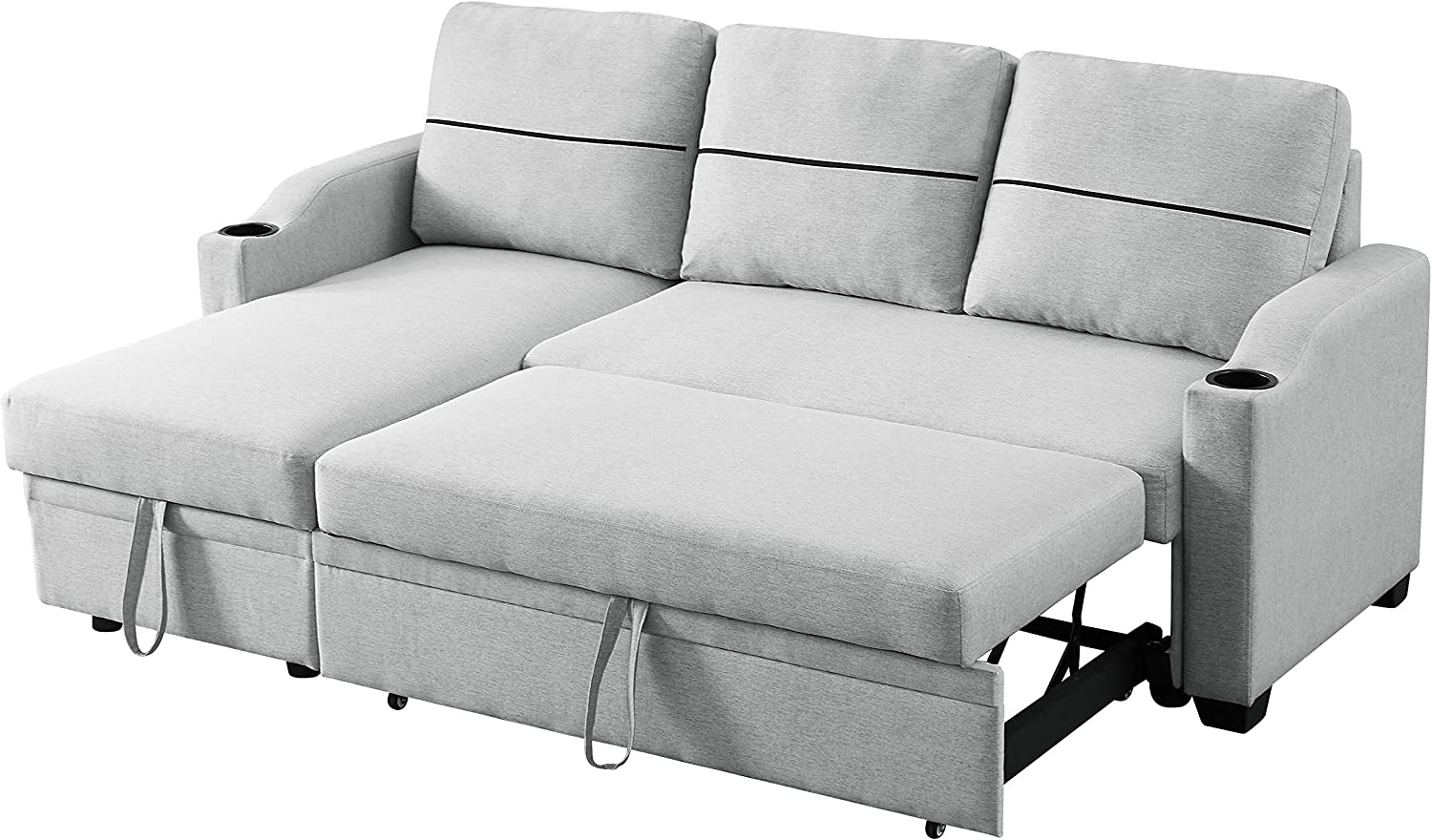 GAOPAN Bed Corner Storage, Modern Fabric Pull-Out Linen Reversible/Sectional Sleeper Sofa with Left/Right Hand Chaise Lounge for Living Room, Light Gray