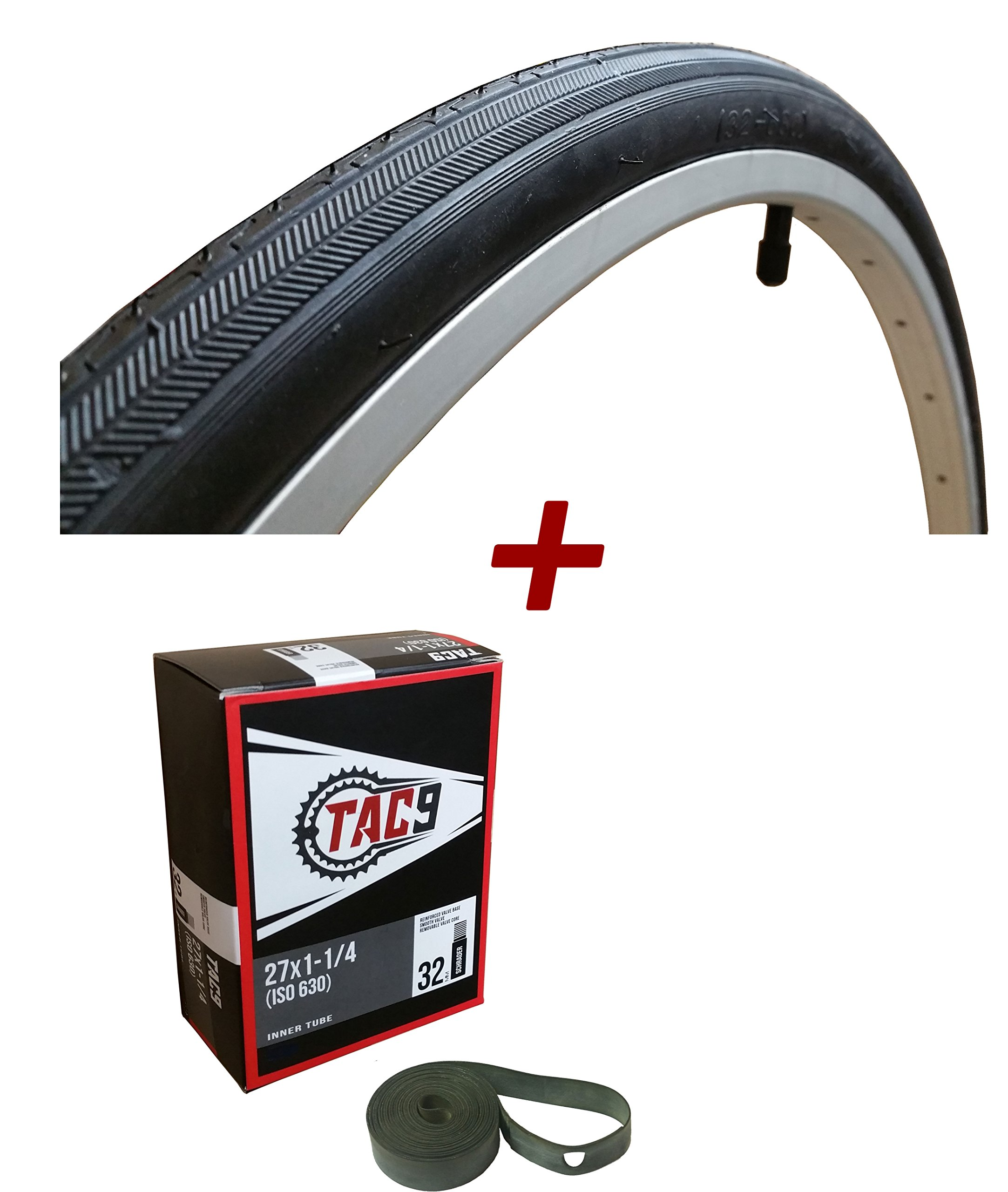 TAC 9 - 27x1-1/4 Bike Tire, Bonus Tube and Rim Strip - Select Gum Wall or Black Wall
