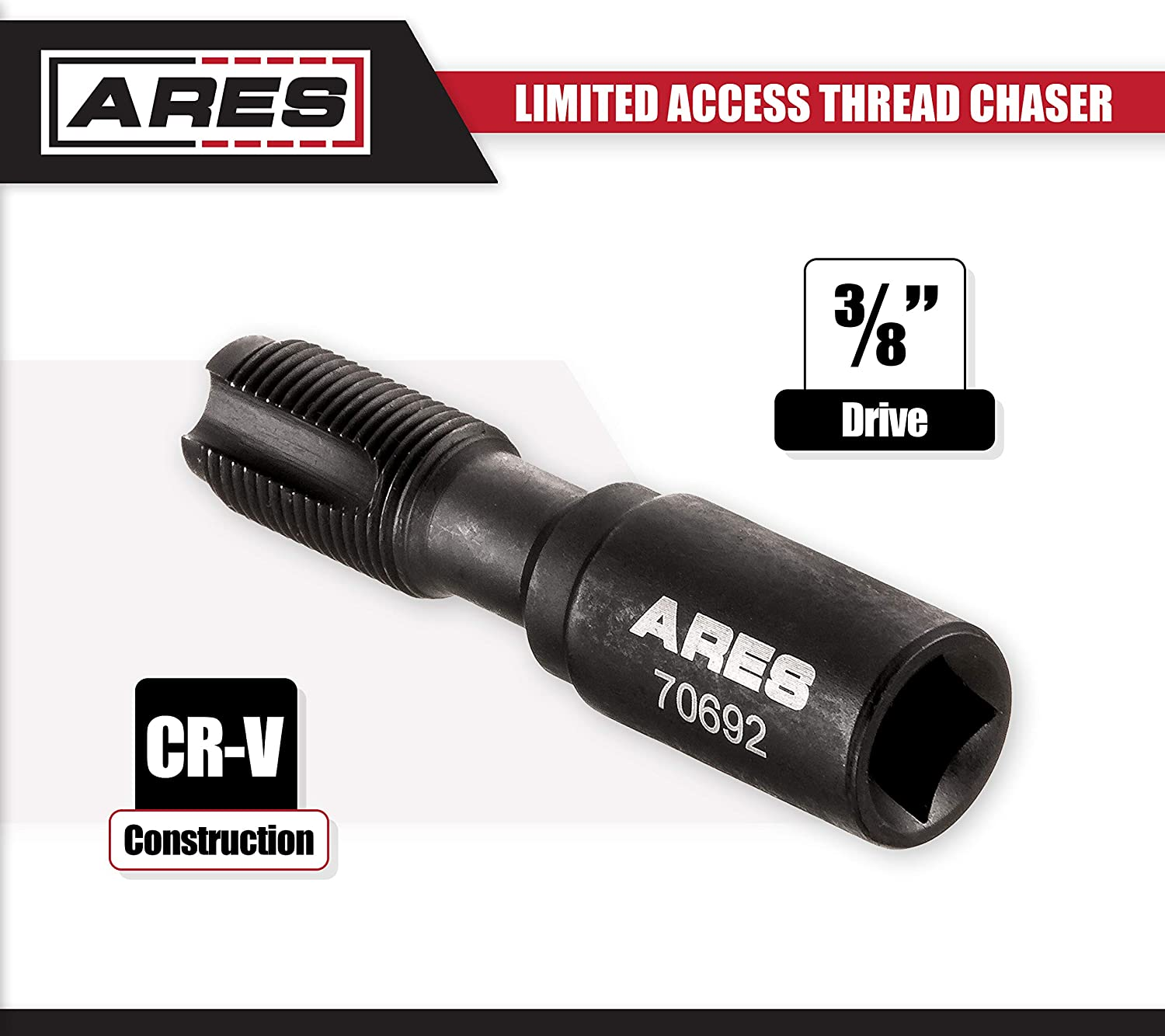 ARES 70692 Limited Access Thread Chaser Perfect for Spark Plug Holes in Confined and Limited Access Areas Fits M14 x 1.25mm Size Plugs
