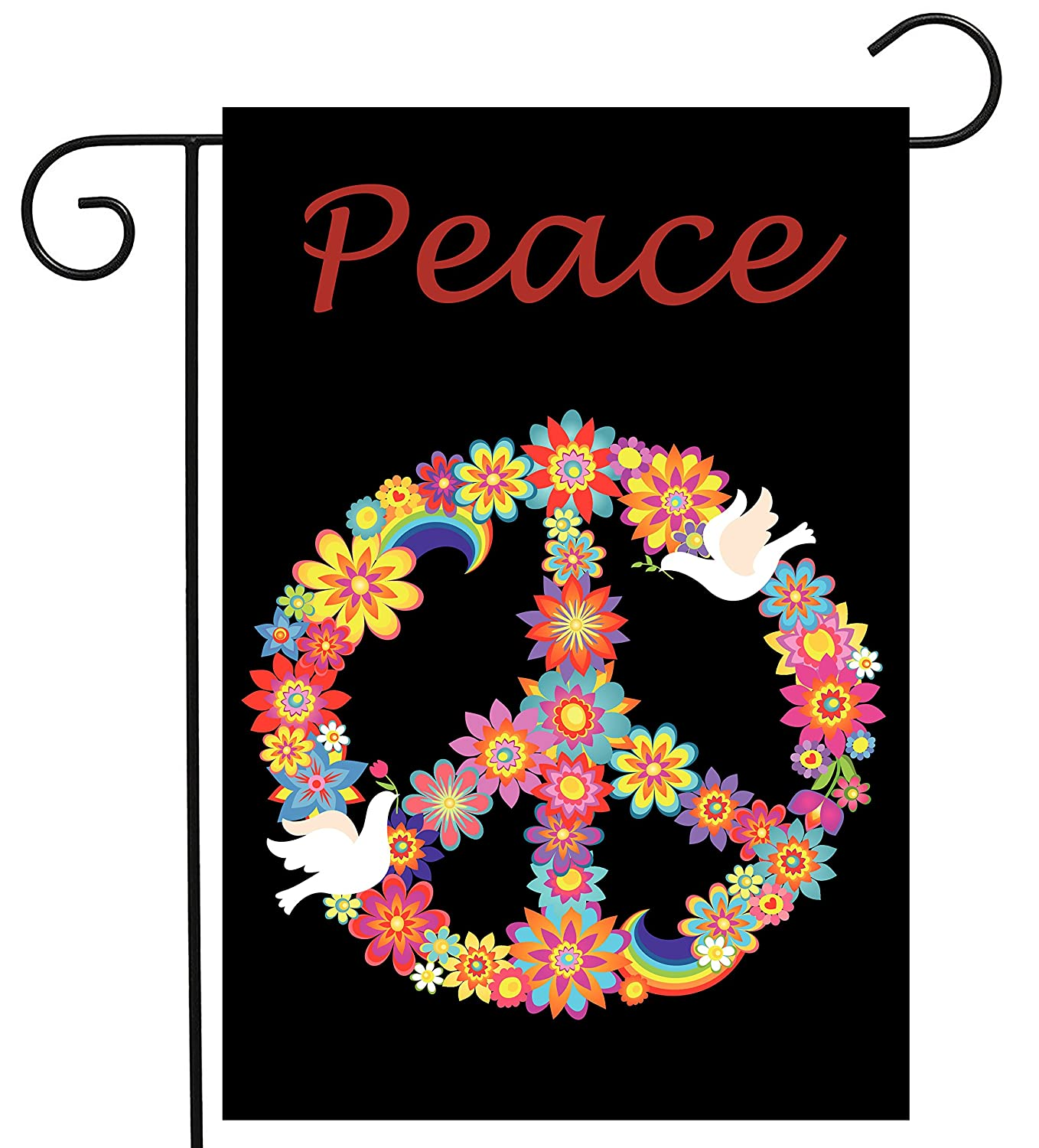 "ShineSnow Love Peace Bird Flower Garden Yard Flag 12""x 18"" Double Sided, Polyester Rainbow Celebrate Welcome House Flag Banners for Patio Lawn Outdoor Home Decor"