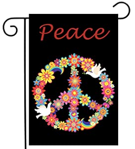 """ShineSnow Love Peace Bird Flower Garden Yard Flag 12""""x 18"""" Double Sided, Polyester Rainbow Celebrate Welcome House Flag Banners for Patio Lawn Outdoor Home Decor"""