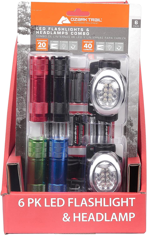 Ozark Trail 6-piece LED Flashlight /& Headlamp Combo for sale online Penlight