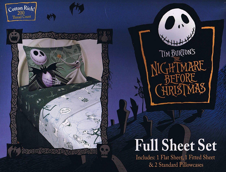 Amazon.com: The Nightmare Before Christmas Sheet Set Full Size ~ 4 ...