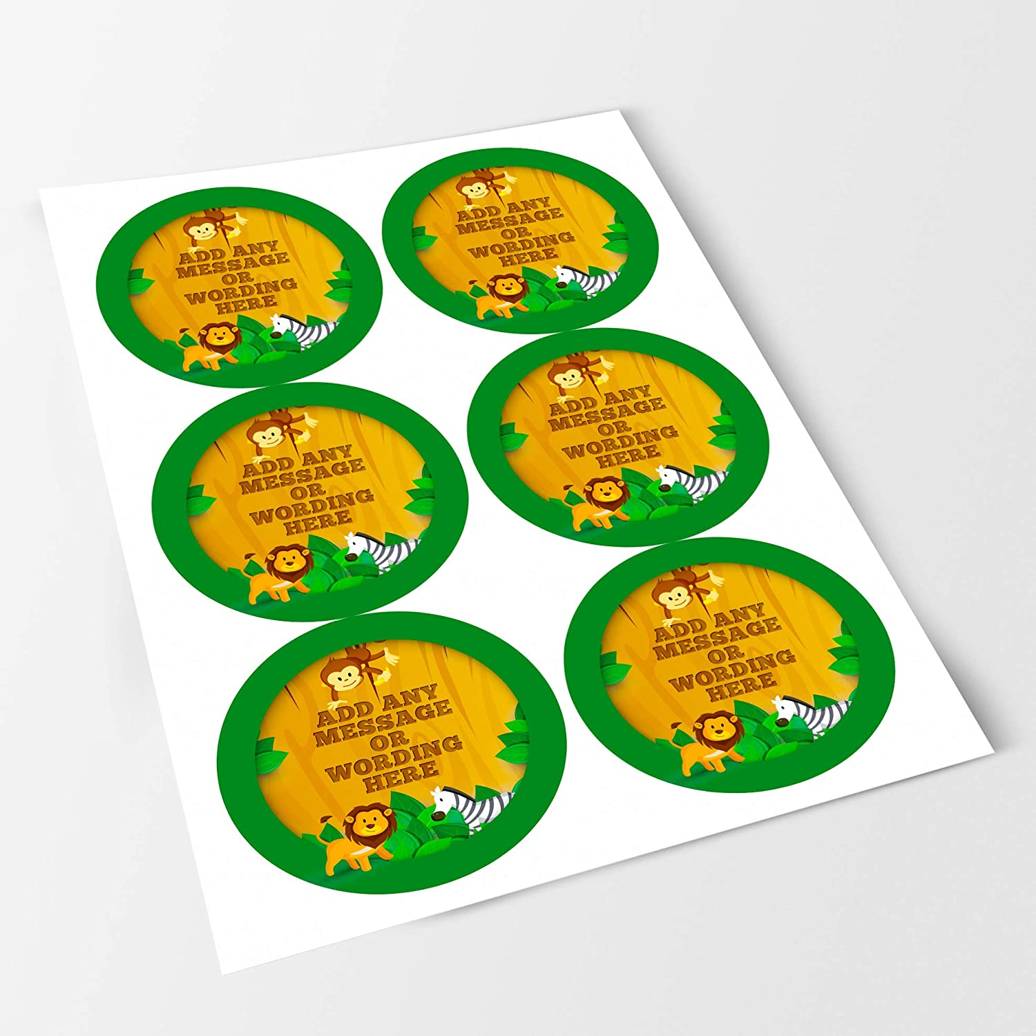 Presentations Gift Boxes Bottles 6 Stickers, 9.5cm Each Crafts Safari Sticker Labels Favours Jars Personalised Seals Ideal for Party Bags Sweet Cones