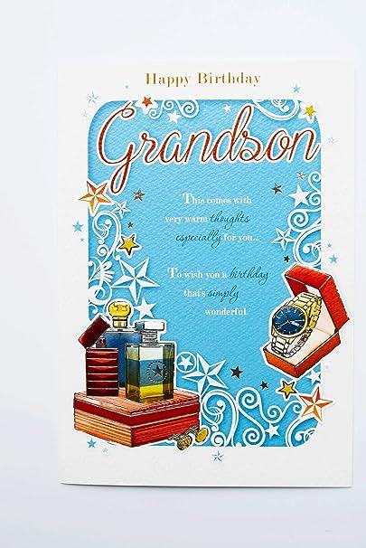 Happy Carte D Anniversaire Pour Petit Fils Homme Adulte Teen Mots Verse Poeme Moderne Carte Lui Amazon Fr Fournitures De Bureau