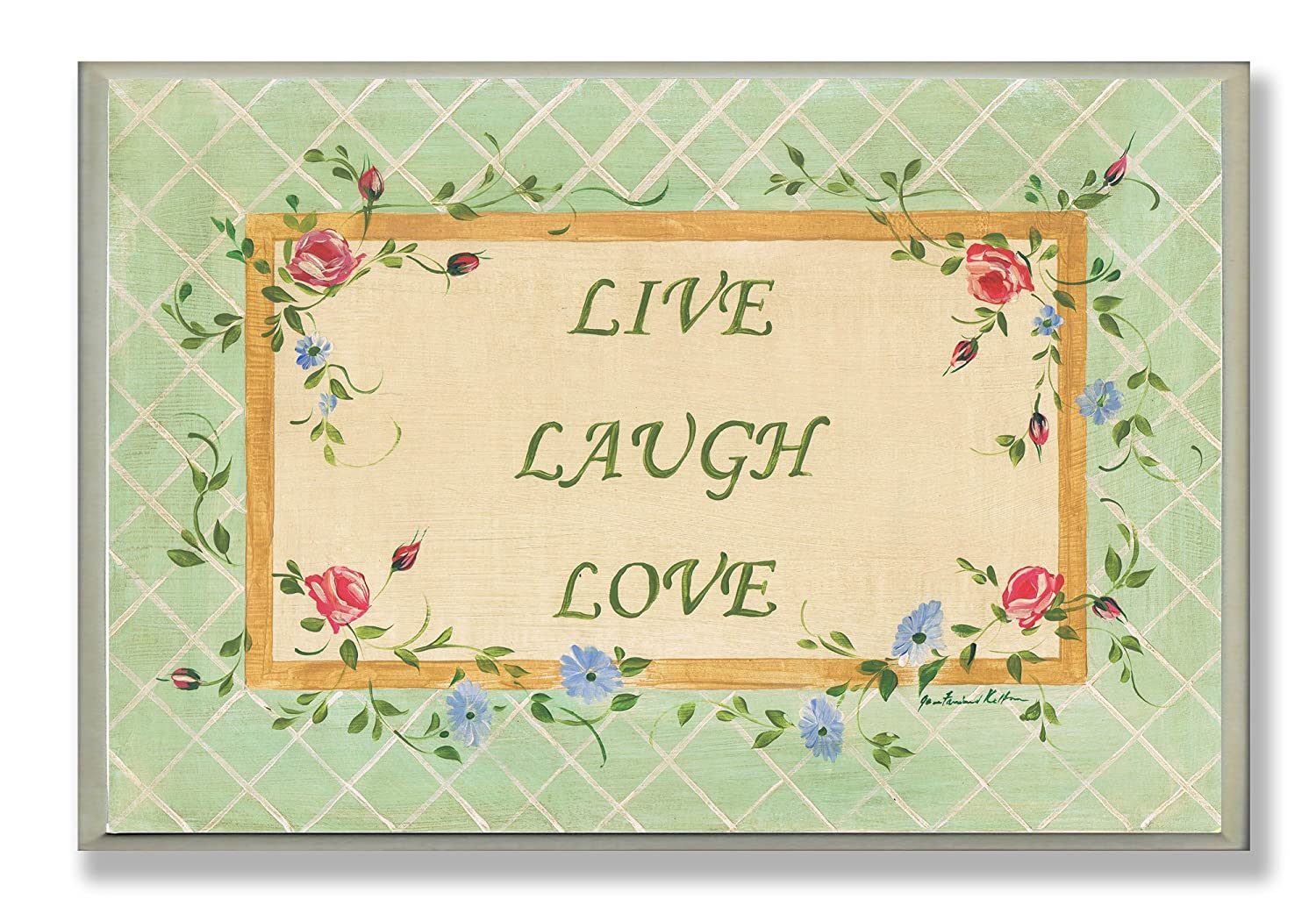 Amazon.com: Stupell Home Live Laugh Love Green Rectangle Wall Plaque ...
