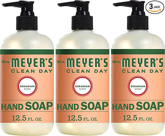 Mrs. Meyer's Clean Day Liquid Hand Soap, Cruelty Free and Biodegradable Hand Wash Made with Essential Oils, Geranium Scent, 12.5 oz - Pack of 3   Amazon