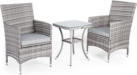 VonHaus - Salon de jardin en Poly Rotin - Ensemble Bistro - Table à Surface  Vitrée et Chaises 2 Personnes pour Jardin et Terrasse - Meuble de ...