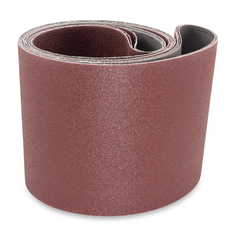 4 X 52 1/2 Inch 100 Grit Aluminum Oxide Multipurpose Sanding Belts, 3 Pack