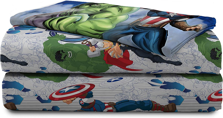 Marvel Avengers Blue Circle 4Piece Full Sheet Set