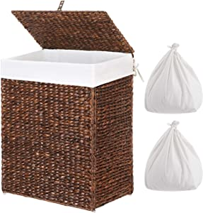 Greenstell Handwoven Seagrass Laundry Hamper with 2 Removable Liner Bag, Handwoven Laundry Basket with Lid and Handles, Foldable and Easy to Install Brown