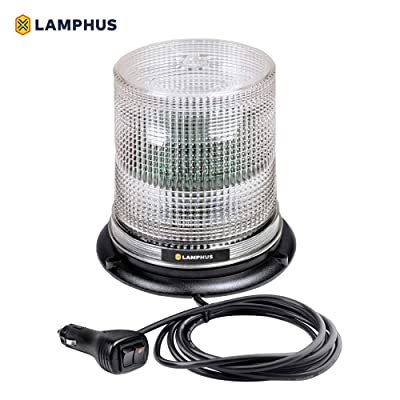 "LAMPHUS Aura 7"" 12W White LED Emergency Beacon Light [SAE Class 1] [38 Flash Modes] [Magnet/Permanent] [High Dome] [Rooftop Mount] Flashing Warning Strobe Beacon Light for Trucks Vehicle Cars: Automotive"