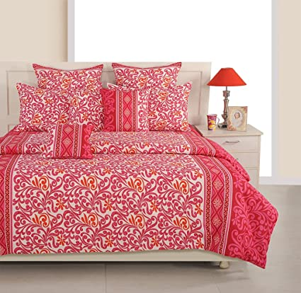 Swayam Eco Sparkle 140 TC Cotton Double Bedsheet with 2 Pillow Covers - Floral, Pink