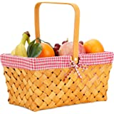 Woodchip Picnic Basket with Folding Handle,Natural Hand Woven Easter Basket,Easter Eggs and Easter Candy Basket,Bath Toy and