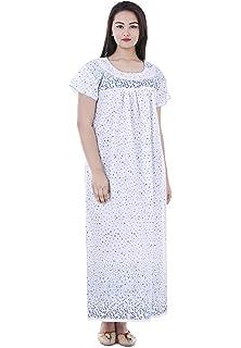 Indian Handicraft Womens Cotton Nighty White Free Size