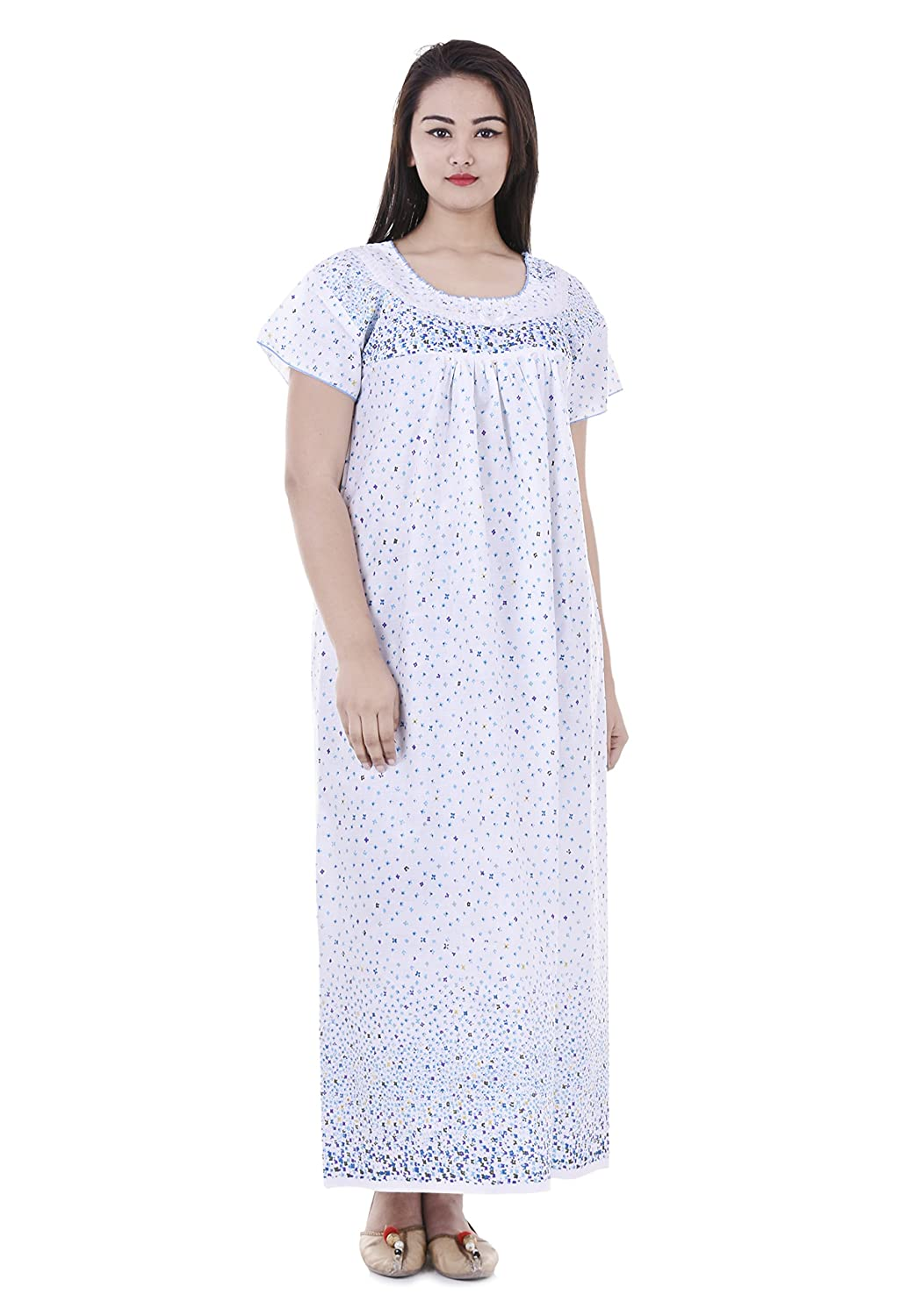 Indian Handicraft Womens Cotton Nighty White Free Size Amazon In Clothing Accessories