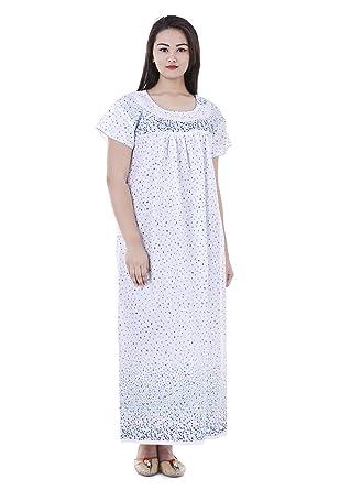 Indian Handicraft Women s Cotton Nighty (White 30c6fea048e3