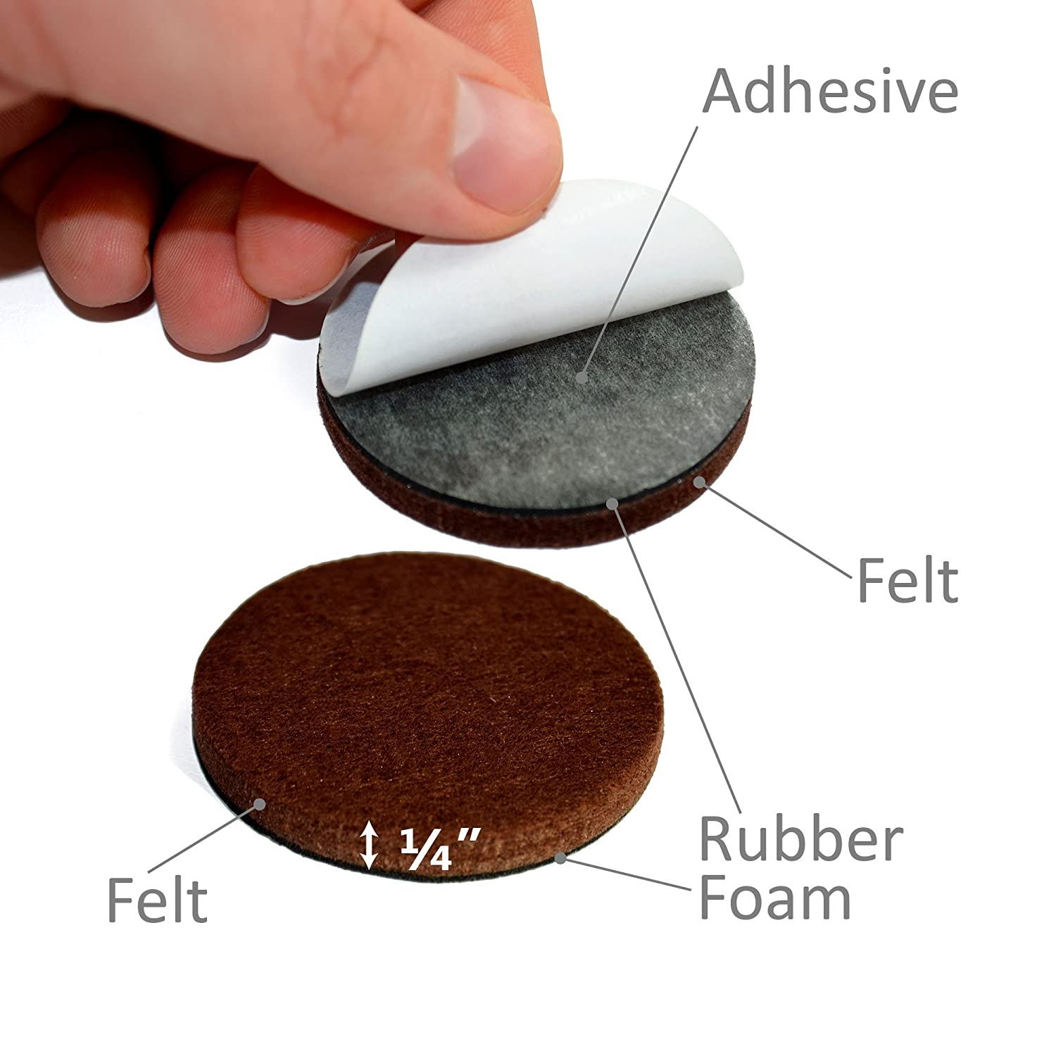 """X PROTECTOR Premium 16 THICK 1 4"""" HEAVY DUTY Felt Furniture Pads 2"""