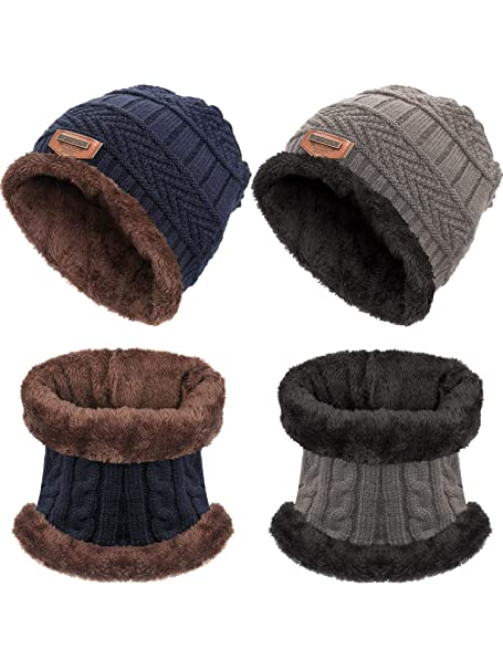 Zhanmai 4 Pezzi Inverno Caldo Berretto a Maglia Cappello e Scaldino del  Collo Sciarpa Set per 4316e37dd77a