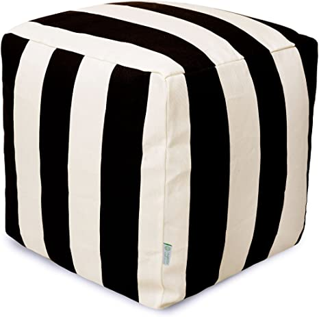 Amazon Com Majestic Home Goods Black Vertical Stripe Indoor Outdoor Bean Bag Ottoman Pouf Cube 17 L X 17 W X 17 H Furniture Decor