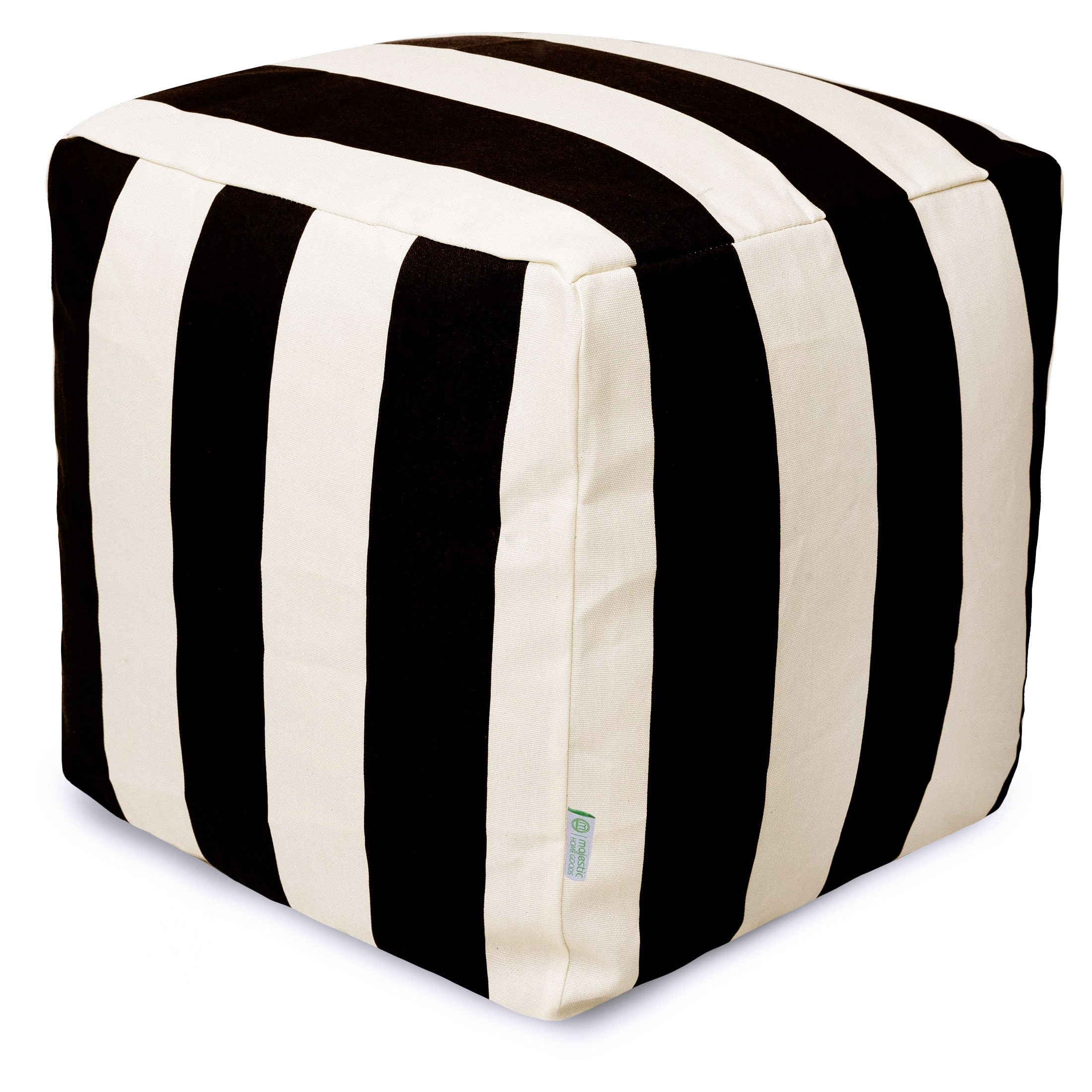 Majestic Home Goods Black Vertical Stripe Indoor/Outdoor Bean Bag Ottoman Pouf Cube 17'' L x 17'' W x 17'' H