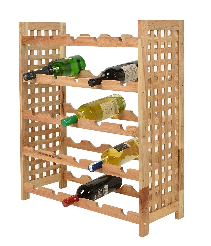 Weinregal für 25 Flaschen Flaschenregal Weinboard Walnuss Massiv ...