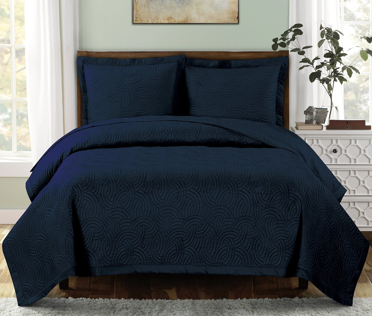 Twin Extra Long size Emerson Navy Coverlet 2pc set, Luxury Microfiber Embossed Print Quilted by Royal Hotel