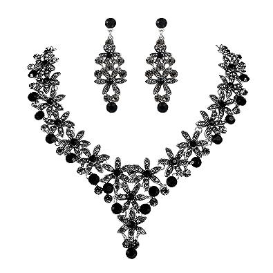 TENYE Women's Rhinestone Crystal Enamel Butterfly Teardrop Necklace Earrings Set 0CMjpg09X