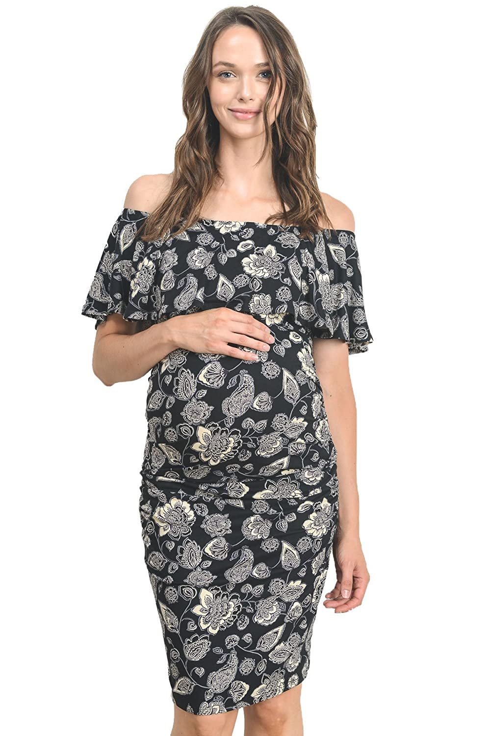 Maternity dresses amazon hello miz womens floral ruffle off shoulder maternity dress made in usa ombrellifo Gallery