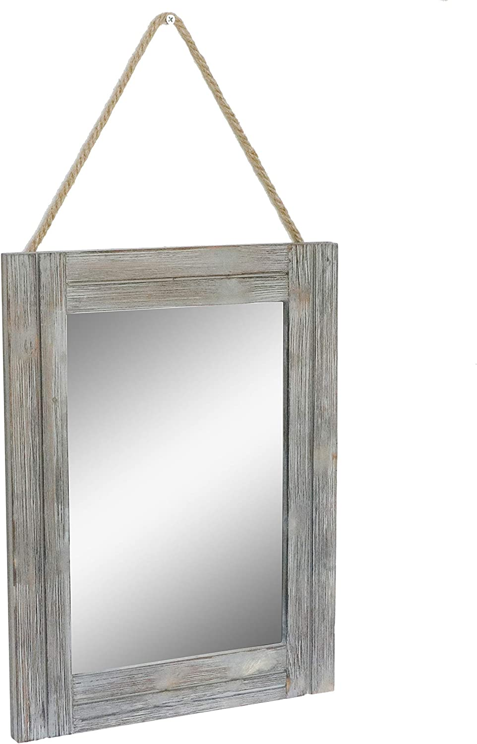 EMAISON 16 X 12 Inch Rustic Wood Framed Wall Mirror with Hanging Rope for Farmhouse Décor, for Entryway, Bedroom, Bathroom, Dresser, Gray