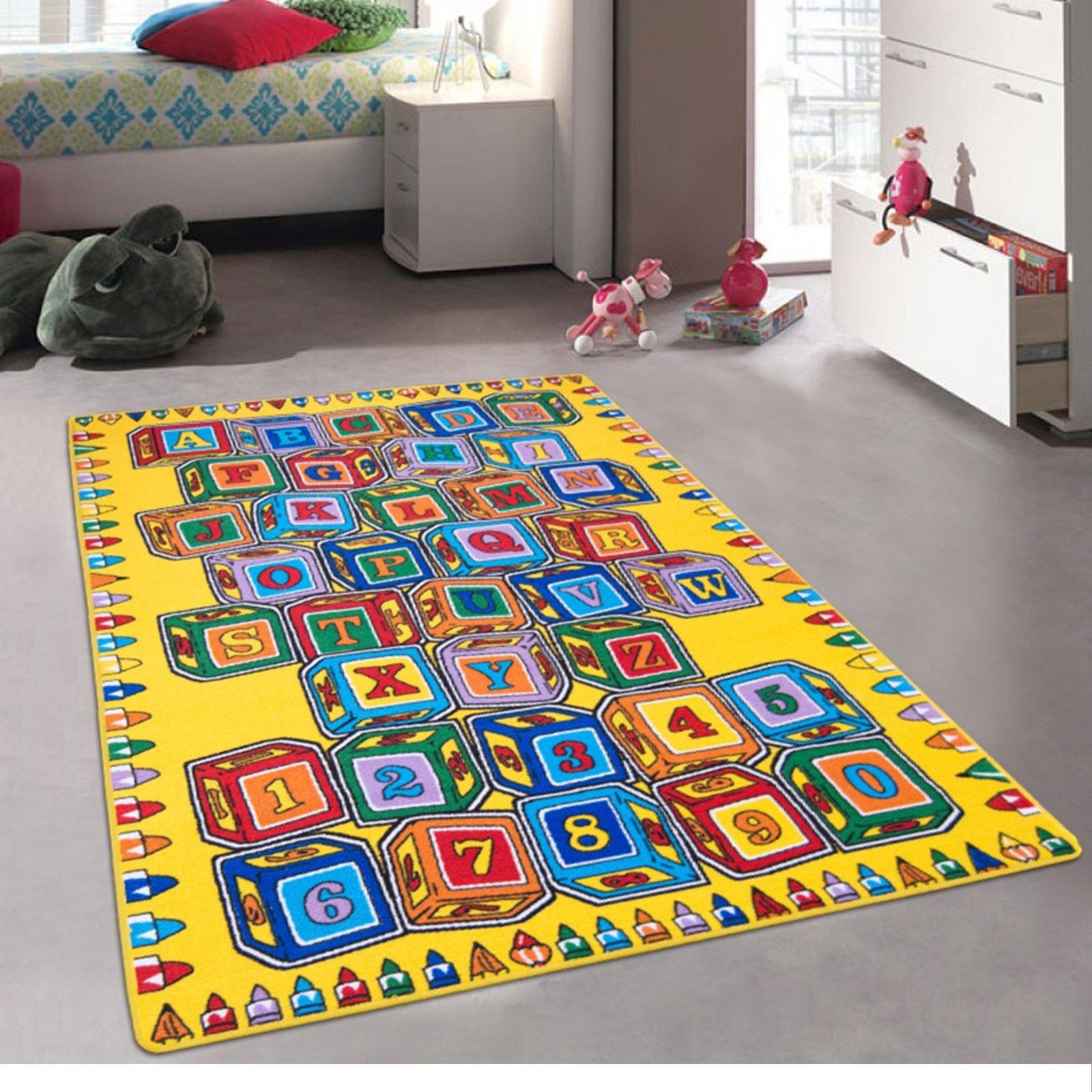 CR's Kids / Daycare / Classroom / Playroom Area Rug. (A-Z AND 1-9) Alphabet. Numbers. Blocks. Educational. Fun. Non-Slip Gel Back. Play Mat (8 Feet X 10 Feet)