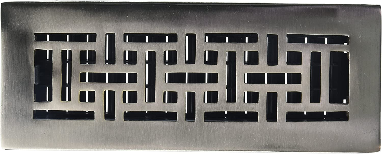 Decor Grates AJ310-NKL 3-Inch by 10-Inch Oriental Floor Register, Solid Brass, Brushed Nickel Finish