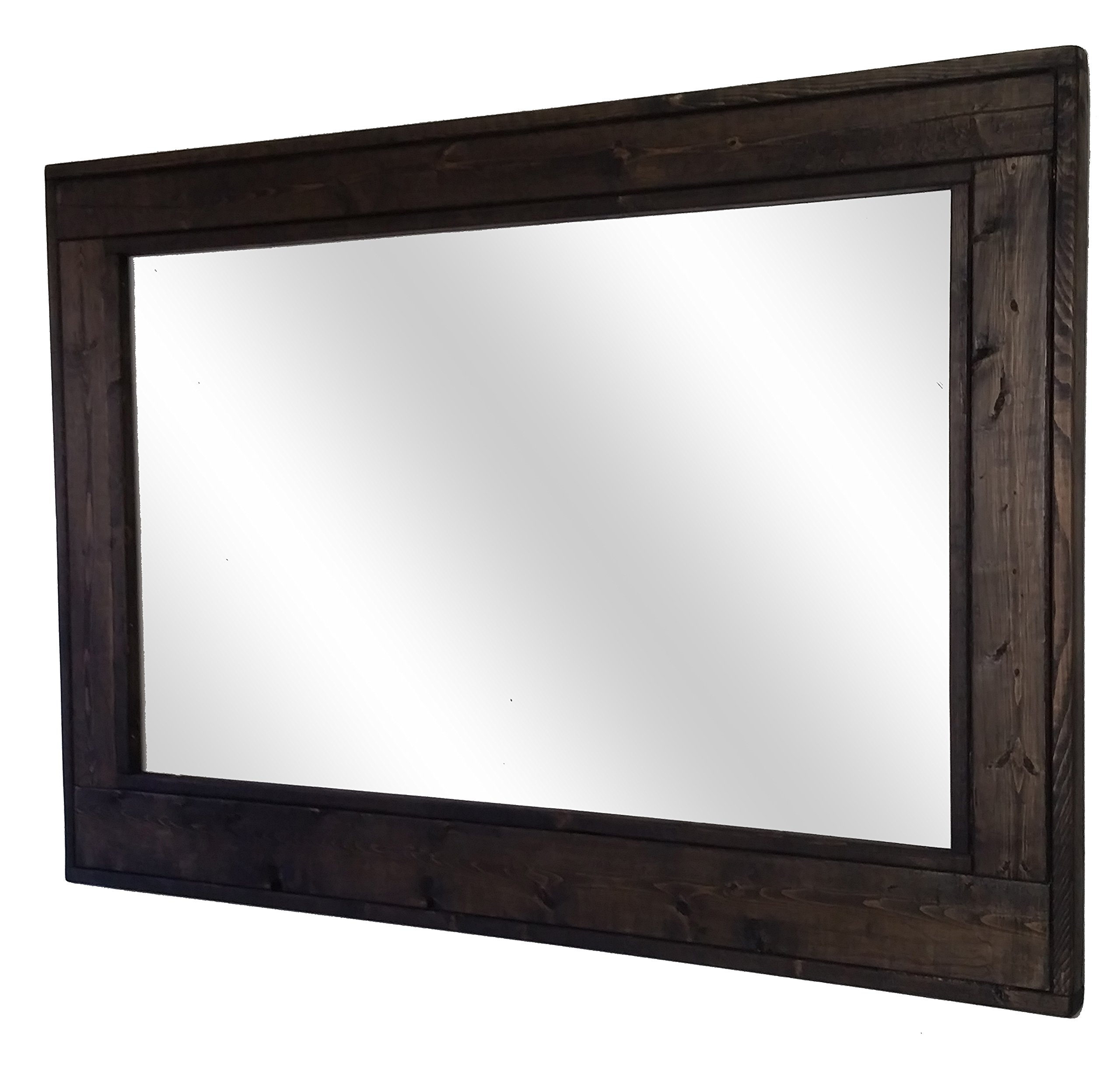 Herringbone 42 x 30 Horizontal Framed Mirror Stained in Ebony - Reclaimed Wood Mirror - Large Wall Mirror - Rustic Modern Home - Home Decor - Mirror - Housewares by Renewed Decor