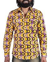 70er Jahre Party Hemd Waves Violett