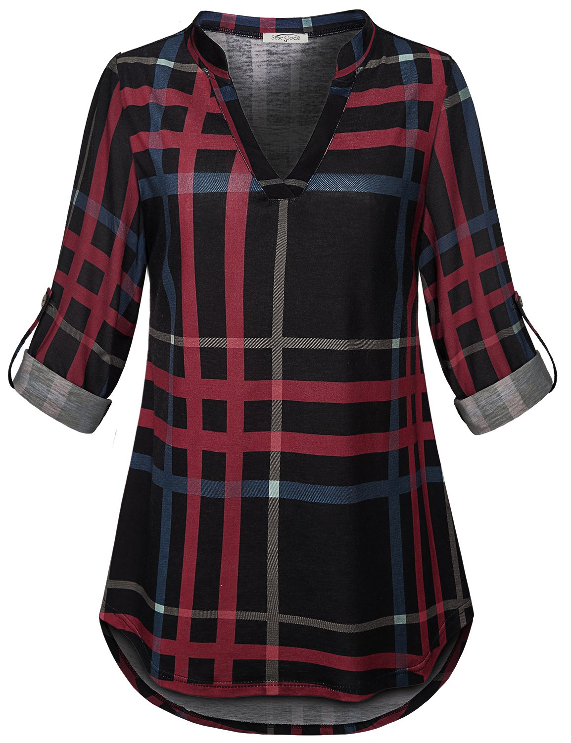 SeSe Code V Neck Blouse Women Work Fashion Knit Henley Plaid Boutique Trend Fancy Clothes Perfect T Shirt Shift Designing Ruffle Flowy Tunic Black and Red XL