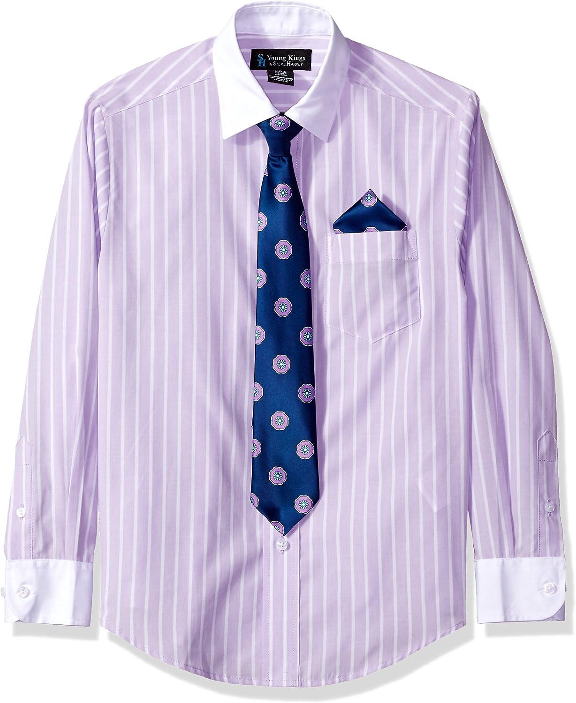 Boys Young Kings by Steve Harvey Blue Dress Shirt Tie /& Hanky Combo Size 4-6