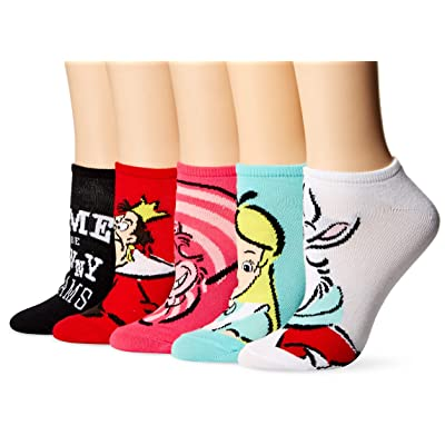 Disney Women's Alice in Wonderland 5 Pack No Show Socks, assorted bright, 9-11 at Women's Clothing store