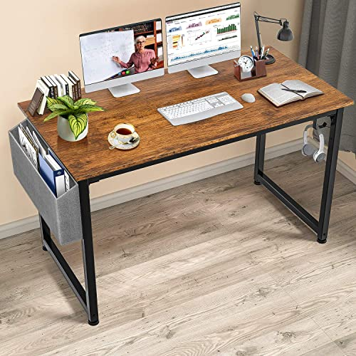 Gimars Sturdy Home Office Desk 47'' Rustic Brown