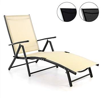 Nexos Gartenliege Sonnenliege Liegestuhl Klappliege U2013 Für Terrasse Balkon U2013  Klappbarer Gartenstuhl Aus Alu U0026 Stahl