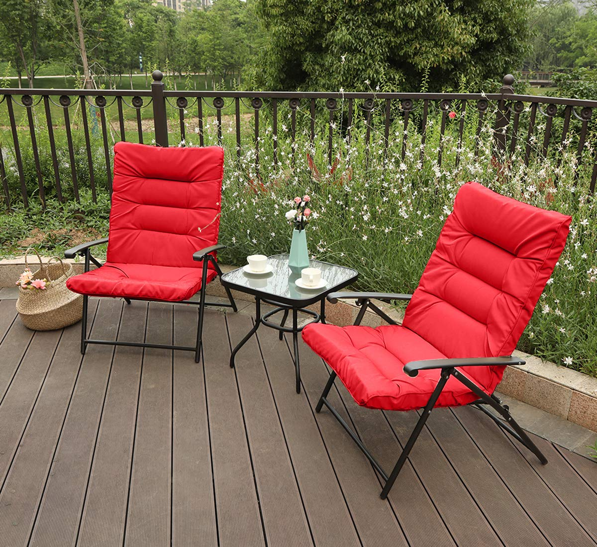 PHI VILLA 3 PC Patio Adjustable Reclining Chair Set Cushioned Folding Chair Indoor Outdoor Furniture, Red