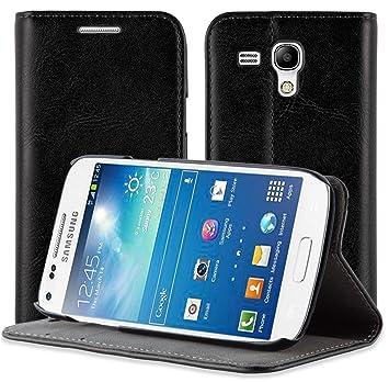 JAMMYLIZARD | Funda de Piel Flip Carcasa para Samsung Galaxy S3 Mini, Color Negro