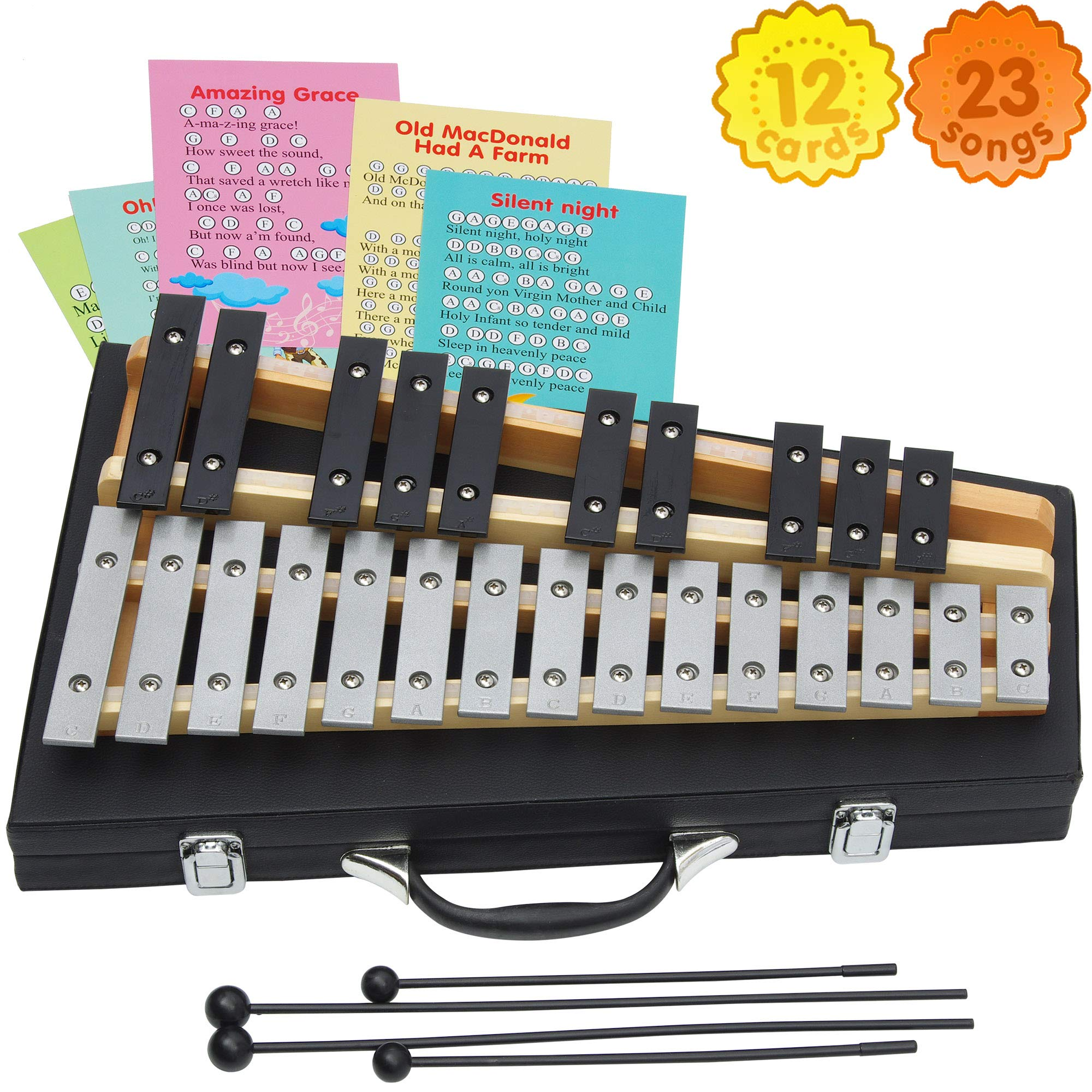 Glockenspiel 25 Notes - Carrying Bag -4 Mallets - Sheet Music Cards by inTemenos